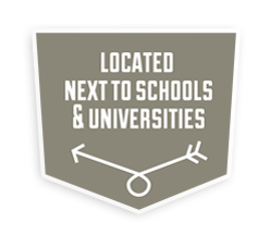 Located next to schools and universities
